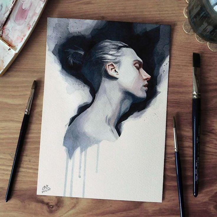 """Páči sa mi to: 7,674, komentáre: 58 – Miroslav Zgabaj (@miro_z_art) na Instagrame: """"Small watercolor painting  #face #portrait #watercolor #painting #sketch #watercolorpainting…"""""""