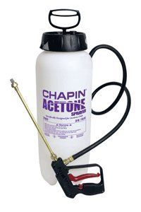 Chapin #21127 3 gal. Acetone Sprayer by Chapin. $111.28. Equipped with seals and gaskets resistant to high concentrations of acetone.  3 gallon capacity.. Large ergo pump handle.  Funnel top for easy filling. Dripless trigger grip shut off. Ceramic tip cone nozzle .16 GPM.. 3 Gal. sprayer made to handle high concentrations of acetone.  Works great for applying acetone based concrete dyes.  Dripless trigger grip shut off handle.
