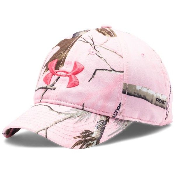 Under Armour Women's UA Camo Hat ($25) ❤ liked on Polyvore featuring accessories, hats, realtree ap pink, camouflage hats, snap hat, embroidered caps, embroidered camo hats i polyester hat