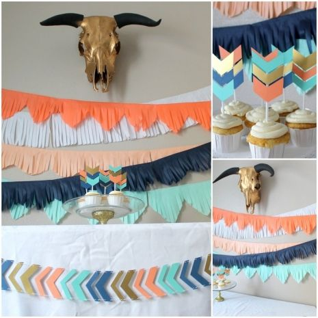 Wild and Free or Wild One themed birthday party or baby shower set. Backdrop banners, chevron arrow banner and cupcake toppers. Coral, peach, navy, white, mint and gold tints. Can customize! $35