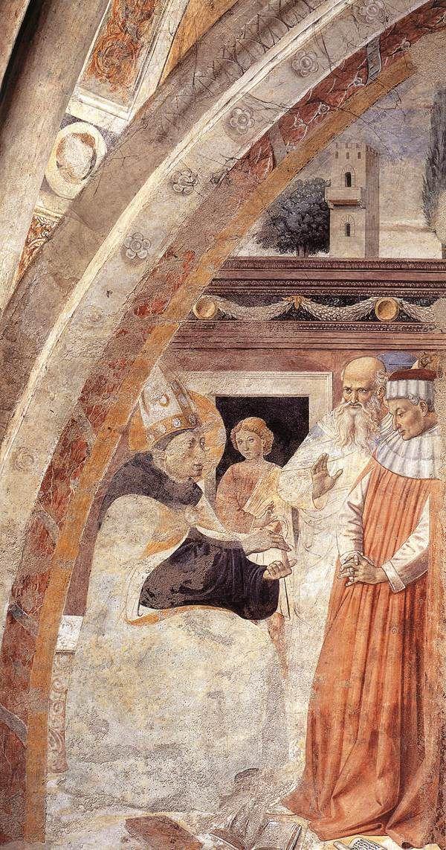 ❤ - BENOZZO GOZZOLI (1421 - 1497) - St. Augustine - Conversion of the Heretic. 1464 - 65. Fresco. Apsidal Chapel of Sant' Agostino, San Gimignano, Italy.