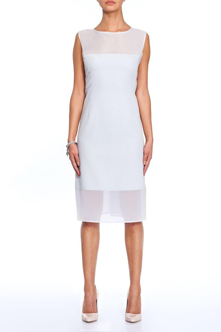 Elegant white dress made of cotton and chiffon  Sukienka z bawełny i szyfonu.