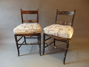 A Pair of English Regency Painted Chairs 19th C with Antique Chintz Squab Cushions