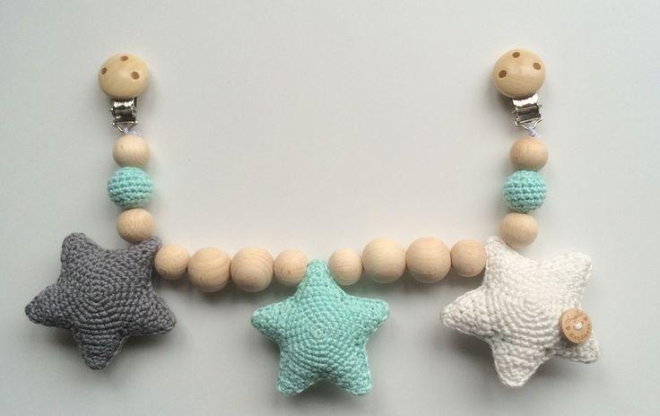 Wagenspanner sterren - donkergrijs, mintgroen, gebroken wit | Wagenspanners | Angelshandmade