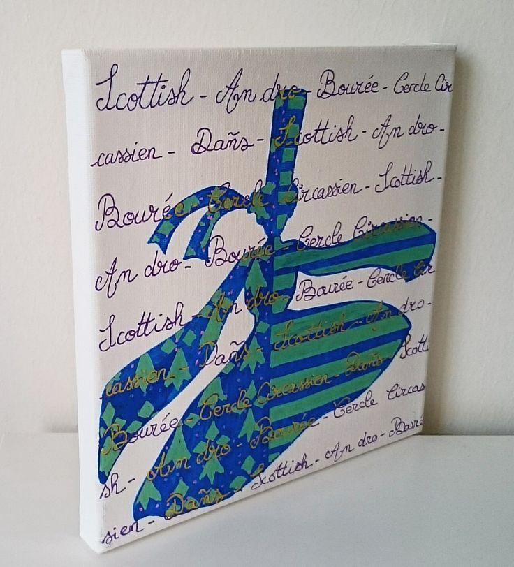 Tableau peinture Bretagne Danse celtique bleu vert : Peintures par milid