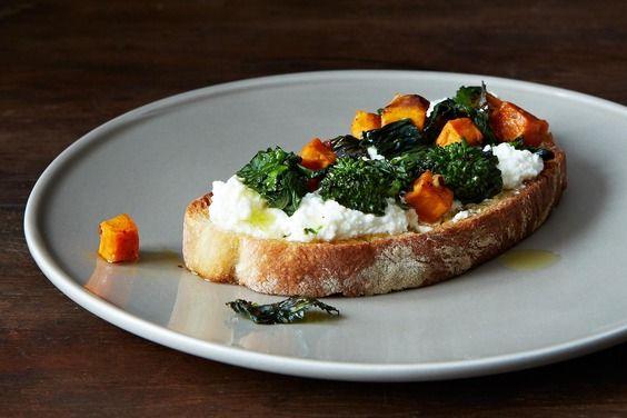 Roasted Broccoli Rabe, Sweet Potato & Ricotta Crostini recipe on ...