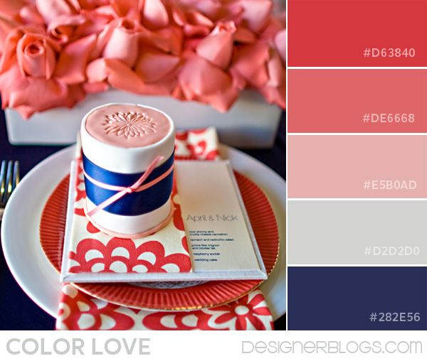 Color Palette Love   Coral and Navy