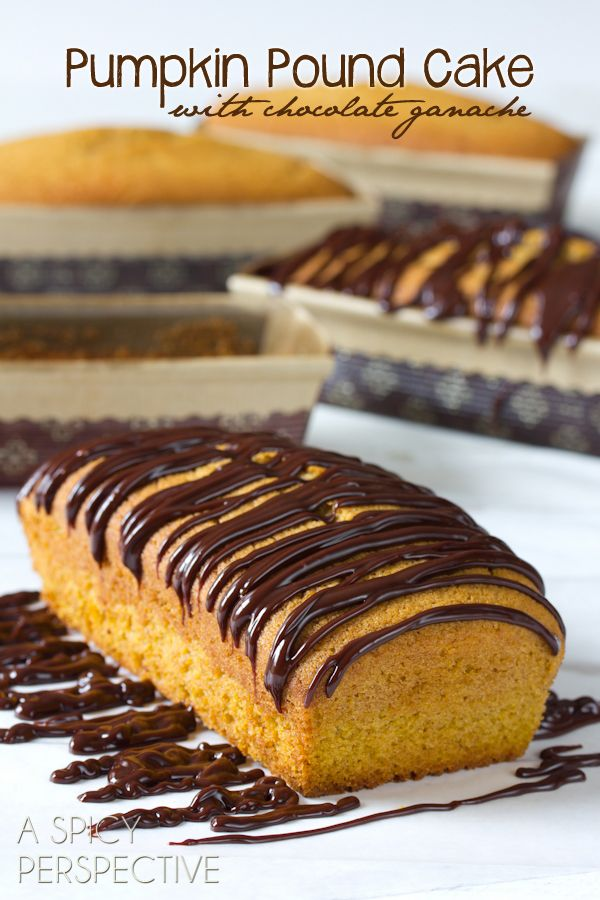 Pumpkin Pound Cake with Chocolate Ganache | ASpicyPerspective.com: Chocolates Ganache, Poundcak Chocolates, Fall Poundcak, Pumpkin Pounds Cakes, Chocolate Ganache, Aspicyperspective Com Pumpkin, Pounds Cakes Recipe, Healthy Desserts, Pound Cake Recipes