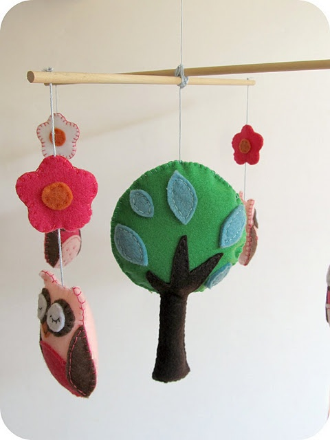 felt owl forest mobile -except, face things so the kids can see