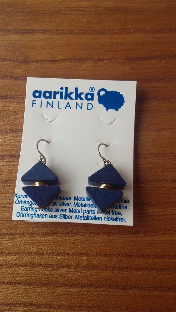 Aarikka Finland Vintage Marie Earrings Blue Wood  Dangle 1980s #Aarikka