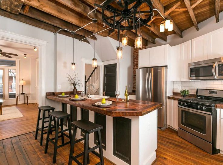 country kitchens with peninsula | Country kitchen with wood counter dining peninsula and wood flooring