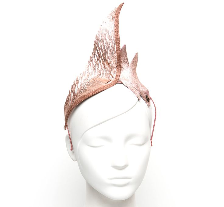 Aura Crown Rose Gold « STUDIO ANISS - Laser cut Leather flame formation headpiece, with one major lasercut tip and two small tips#studioaniss #allergic2ordinary #melbournecup #melbcup #emiratesmelbournecup #oaksday #crownsday #stakesday #caulfieldcup #crowns #tiara #fascinator #fashion #style #springracing #springfashion #springracingcarnival #headpieces #hairaccessories #aniss #hats #leather #leatheraccessories