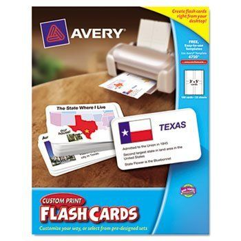 6 Pack Printable Flash Cards, White, 3x5, 4 cards/sheet, 100/PK by AVERY by Avery. $69.77. 6 Pack Printable Flash Cards, White, 3x5, 4 cards/sheet, 100/PK by AVERYEasily create and print flash cards using Avery's free online Flash Card Creator. Input your own content or select from Avery's library of educational subjects. Finished cards are easier to read and look neater than hand-printed cards. Ultimate educational flexibility. Includes Box Tops for Education coupon...