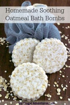 Homemade Soothing Oatmeal Bath Bombs by myfrugaladventures: Break one fizzy up under running bath water and relax. #Bath_Bombs #Oatmeal