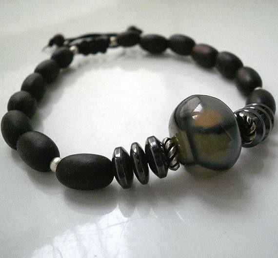 Mens silver braceletGemstone mens braceletsilver