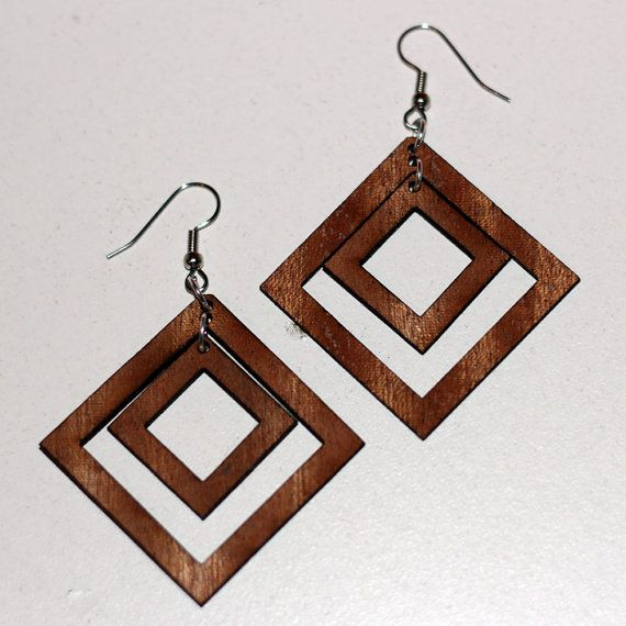 Four Square Wooden Earrings by WoodKeeps on Etsy, $22.50