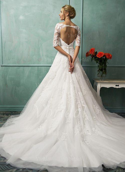 Bröllopsklänningar - $216.43 - A-linjeformat Off-shoulder Ringning Chapel släp Tyll Spetsar Bröllopsklänning med Rosett/-er (0025063225)