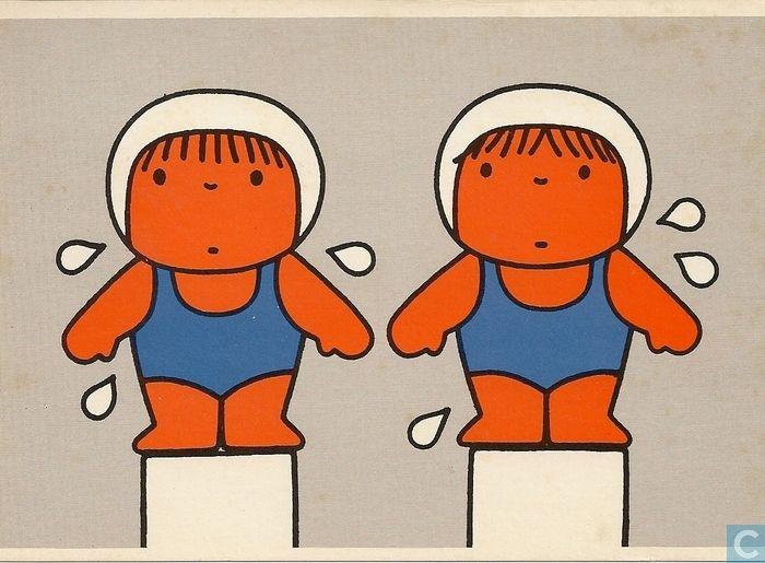 Ansichtkaarten - Kind en de sport - voor het kind - zwemsters- vintage dick bruna 1977