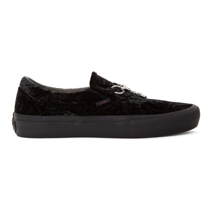 b8bd6981f4fc NEEDLES NEEDLES BLACK VANS EDITION VELVET SLIP-ON V SNEAKERS.  needles   shoes