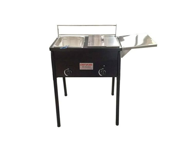 New Outdoor Fryer 2 tanks uses propane  Great for fish frying! Outdoor fryer Detachable legs Uses propane The burners are located under the tanks and can be reg