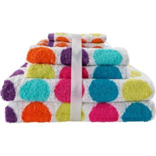 buy colourmatch 6 piece towel bale bright spots at argos. Black Bedroom Furniture Sets. Home Design Ideas