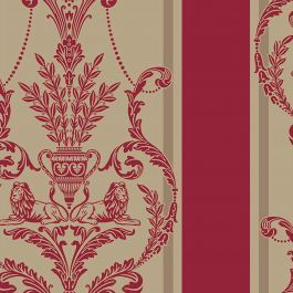 Leonardo Flock Damask Wallpaper Arthouse Regal Red 952003  This traditional Leonardo Flock Damask Wallpaper would make a great statement in most rooms of your home. The raised flock design has a soft velvet-like texture and features an ornate damask pattern with lions, vases and feathers alternating with a wide deep red stripe. This is set on a contrasting pale gold background with a subtle light reflecting sheen. Easy to apply, this high quality wallpaper would look great when used to…