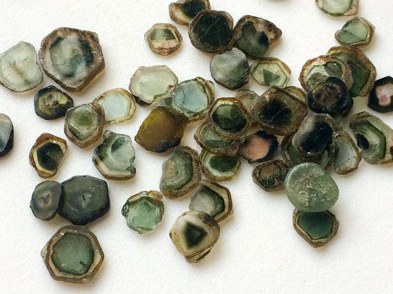 WHOLESALE 10 Pcs Green Tourmaline Slices Loose by gemsforjewels