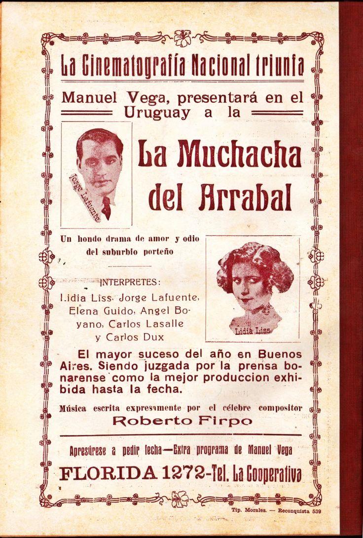 1922 - LA MUCHACHA DEL ARRABAL - José  A. Ferreyra - (RESEÑA, Octubre de 1922, Montevideo, Uruguay)
