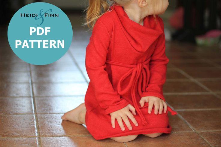 Cowl Neck Jumper Dress pattern and tutorial PDF 12m-6T EASY SEW tunic dress sweater. $6.95, via Etsy.