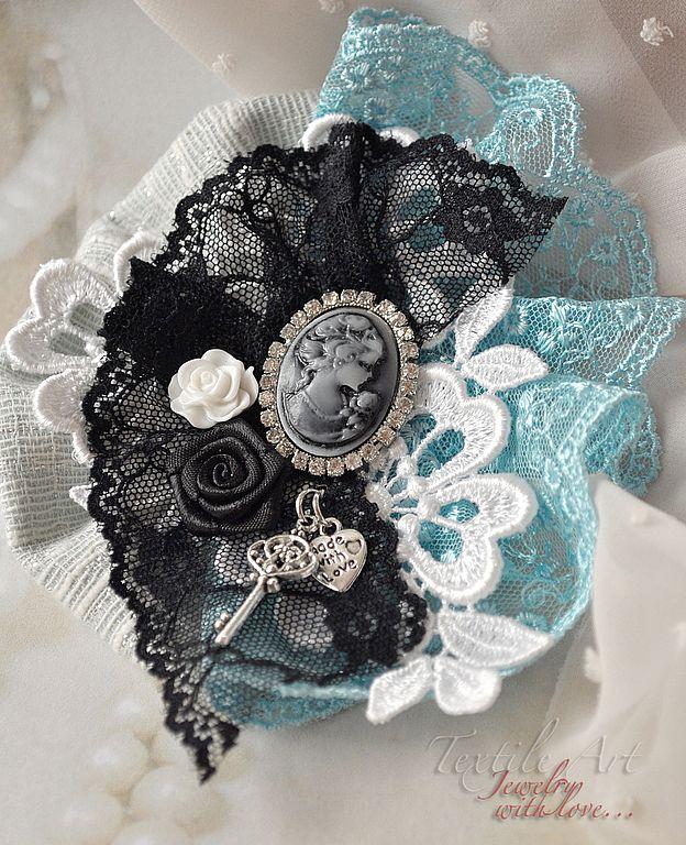 """Купить Брошь """"Морская"""" - бирюзовый, черный, праздничный, нарядный, вечер, вечерние украшения, камея, кружево"""