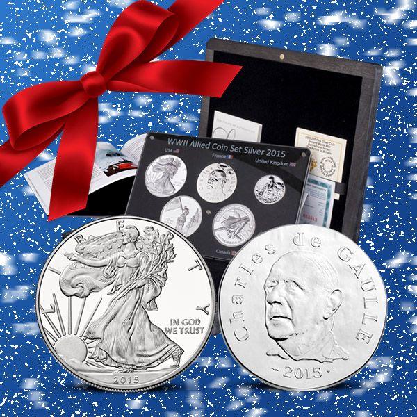 Silverset med mynt från de fem stora allierade från andra världskriget