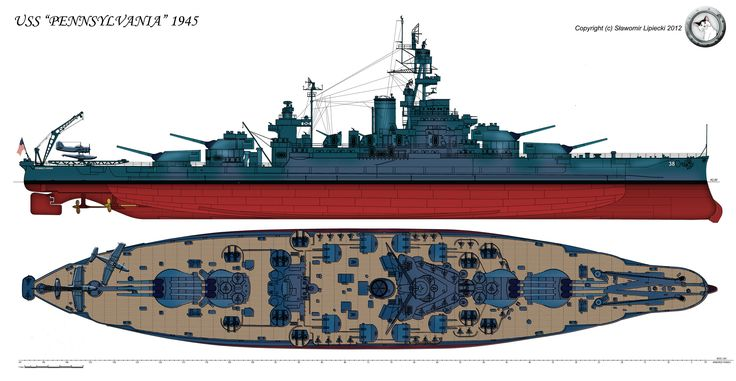 """The battleship USS """"Pennsylvania"""" in her final 1945 configuration. Description from deviantart.com. I searched for this on bing.com/images"""