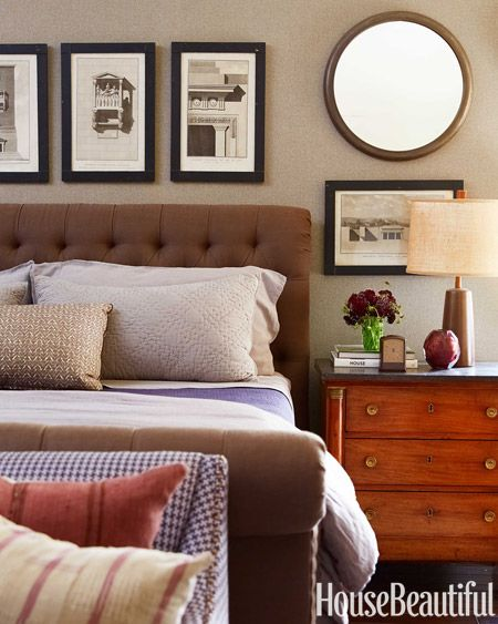 Master Bedroom  In the master bedroom, lavender accents contrast against walls in Phillip Jeffries's Donegal Grey tweed. - Eric Stonestreet House - House Beautiful