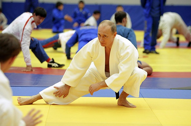 Stretching during a judo training session at a sports center in St. Petersburg, Russia.