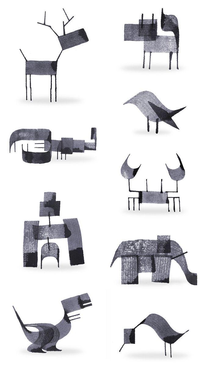 Animals / Calligraphy Animals by Andrew Fox illustration