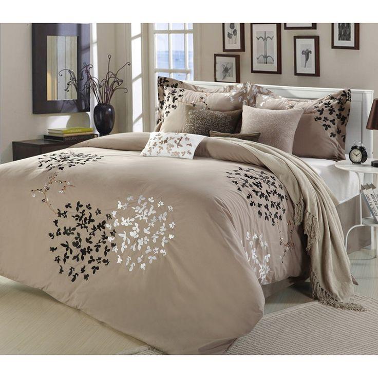 cheila taupe 8piece comforter set - Queen Bed Comforter Sets