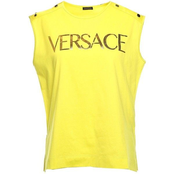 Versace  Versace Vintage Logo-Print Cotton-Jersey Tank Top ($315) ❤ liked on Polyvore featuring tops, giallo, stitch tank top, yellow tank, print tank top, pattern tank top and reversible tank