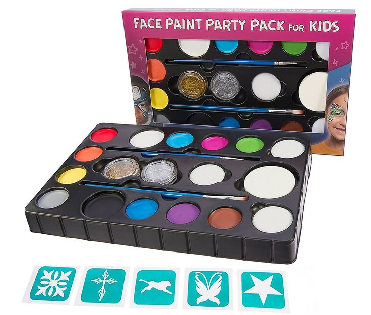 Amazon.com: Face Paint Kit for Kids X Large 14 Color Party Pack for 100+ faces. 4 Sponges, 2 Glitter Gels, 2 Brushes, Stencils. Top Quality Face & Body Painting Set +BONUS Online Guide. Safe Non-Toxic Water Based