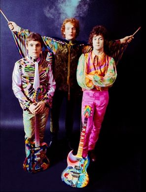 Cream ~ Jack Bruce, Ginger Baker and Eric Clapton. 1968 : clothes & guitars designed by The Fool (Marijke Koger & Simon Posthuma)