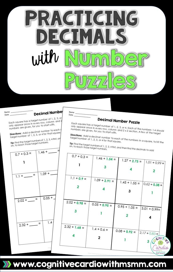 Use Number Puzzles To Help Your Math Students Practice Decimal Addition And Subtraction Math Decimals Decimals Math Math Blog [ 1152 x 734 Pixel ]
