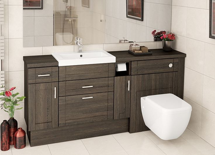 Mali Oak Fitted Bathroom Furniture - Basin units with drawers elongate a run of furniture, whilst a handy toilet roll holder is a great finishing touch.
