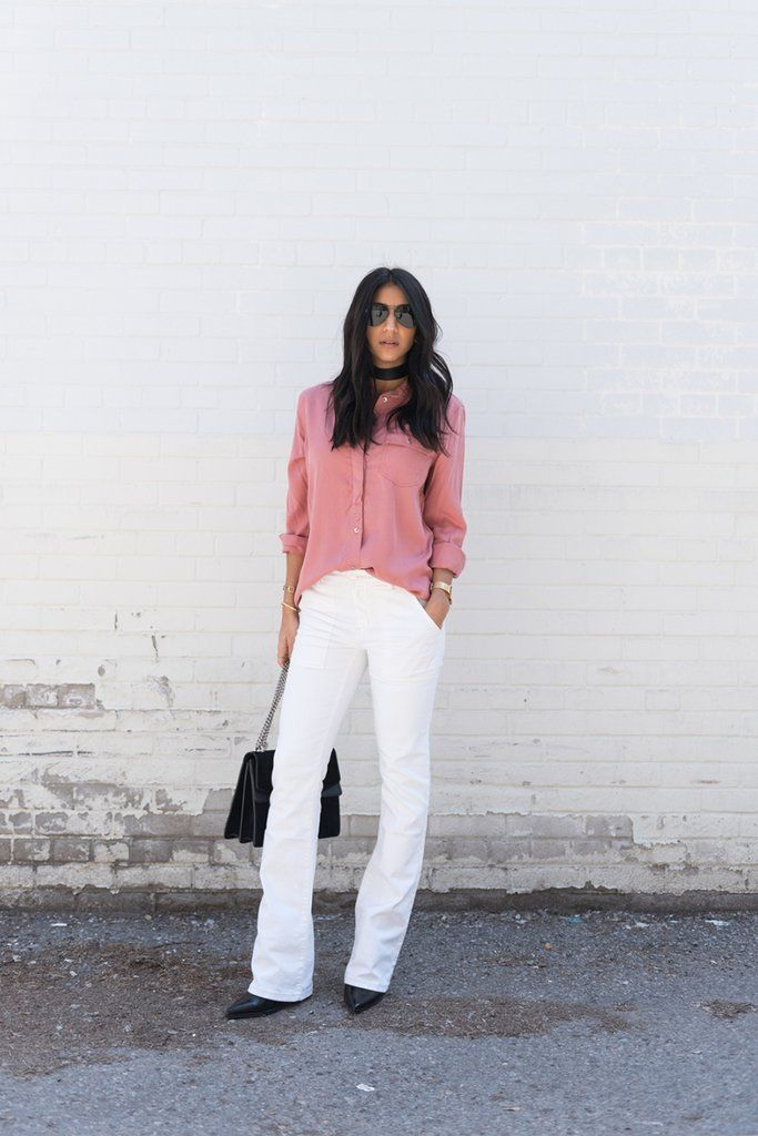 Tuck it into flare jeans.