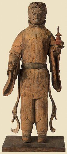Tamonten, Plain wood, 51.5 cm, Asuka Period, 7th Century, Houryuu-ji Temple