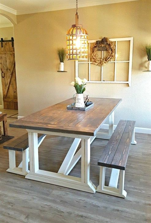 I Followed Ana Whites DIY Farmhouse Table Plans To Build Our New Dining Room Finish The With Chalk Paint And Two Stains Get This Look
