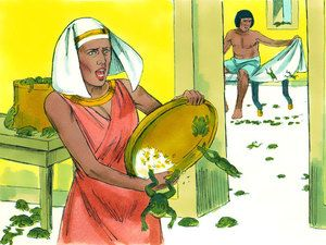 Free Bible illustrations at Free Bible images of Moses and the first seven plagues God sent on Egypt. (Exodus 7 - 9): Slide 6