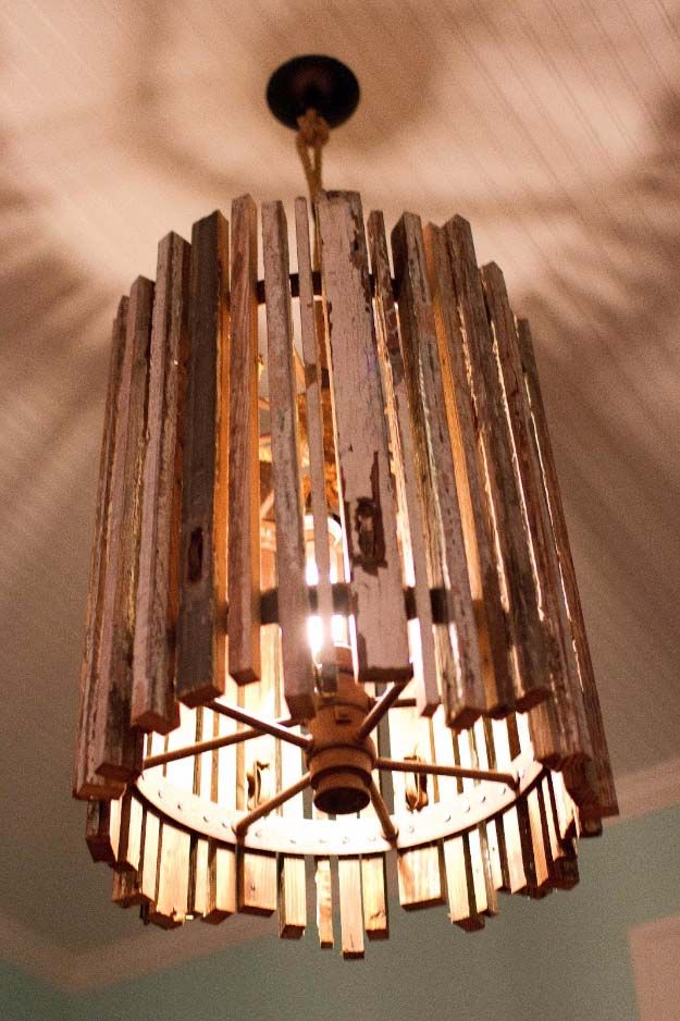 DIY Lighting Ideas and Cool DIY Light Projects for the Home. Chandeliers, lamps, awesome pendants and creative hanging fixtures,  complete with tutorials with instructions | Upcycled Old Wood DIY Pendant Light | http://diyjoy.com/diy-projects-lighting-ideas