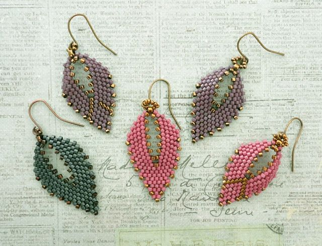 Linda's Crafty Inspirations: Playing with my beads...Russian Leaf Earrings