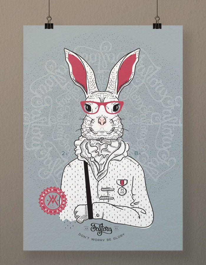 Оригинальный постер Bucks Bunny (денежный кролик) формат А2, синий фон, без рамы. Принт на плакатной бумаге. #принт #постер #плакат #кролик #fastory