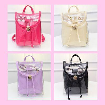 On sale - transparent backpack | pink purple black white