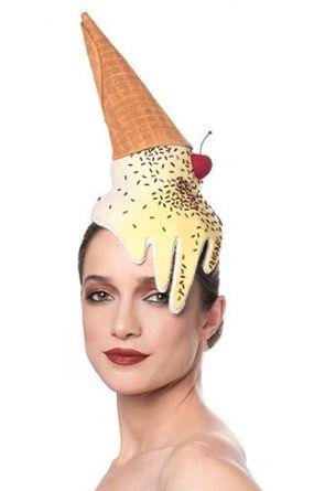 MADE TO ORDER Ice Cream Cone Fascinator, Melting Dessert Headpiece, Unique Food Hat